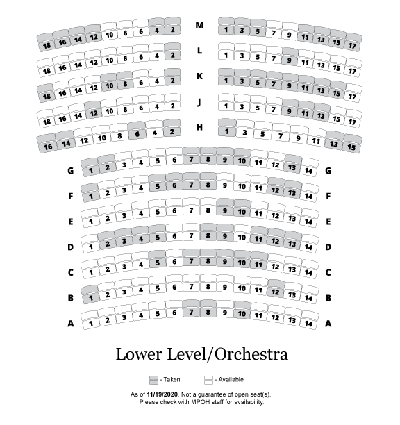 Seat Naming Availability &mdash Lower Level/Orchestra
